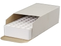 Product detail of MidwayUSA CB-01 Ammo Box with Styrofoam Tray 25 ACP, 380 ACP, 9mm Luger 50-Round Cardboard White