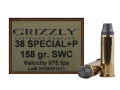Product detail of Grizzly Ammunition 38 Special +P 158 Grain Lead Semi-Wadcutter Box of 20