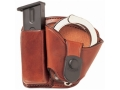 Product detail of Bianchi 45 Magazine and Cuff Combo Paddle Glock 17, 19, 22, 23, S&W SW9F Leather Tan