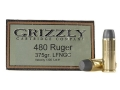 Product detail of Grizzly Ammunition 480 Ruger 375 Grain Cast Performance Lead Long Flat Nose Gas Check Box of 20