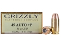 Product detail of Grizzly Ammunition 45 ACP +P 185 Grain Jacketed Hollow Point Box of 20