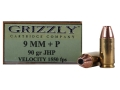 Product detail of Grizzly Ammunition 9mm Luger +P 90 Grain Jacketed Hollow Point Box of 20
