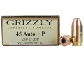 Product detail of Grizzly Ammunition 45 ACP +P 230 Grain Jacketed Hollow Point Box of 20