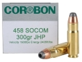 Product detail of Cor-Bon Self-Defense Ammunition 458 SOCOM 300 Grain Jacketed Hollow Point Box of 20