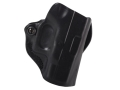 Product detail of DeSantis Mini Scabbard Outside the Waistband Holster Right Hand Glock 26, 27, 33 Leather Black