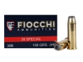 Product detail of Fiocchi Shooting Dynamics Ammunition 38 Special 158 Grain Jacketed Hollow Point Box of 50