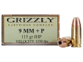 Product detail of Grizzly Ammunition 9mm Luger +P 115 Grain Jacketed Hollow Point Box of 20