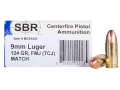 Product detail of SBR Match Ammunition 9mm Luger 124 Grain Total Copper Jacket Box of 50