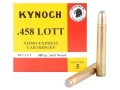 Product detail of Kynoch Ammunition 458 Lott 480 Grain Woodleigh Weldcore Soft Point Bo...