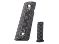Product detail of Hogue Extreme Series Magrip Kit 1911 Government, Commander Checkered with Flat Mainspring Housing G-10 G-Mascus Black and Grey