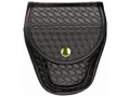 Product detail of Bianchi 7900 AccuMold Elite Covered Cuff Case Brass Snap Basketweave Trilaminate Black