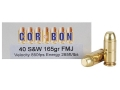 Product detail of Cor-Bon Performance Match Ammunition 40 S&W 165 Grain Full Metal Jacket Box of 50