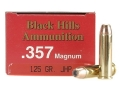 Product detail of Black Hills Ammunition 357 Magnum 125 Grain Jacketed Hollow Point Box of 50