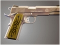 Product detail of Hogue Extreme Series Grips 1911 Government, Commander Ambidextrous Safety Cut Tribal Aluminum Green