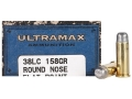 Product detail of Ultramax Cowboy Action Ammunition 38 Long Colt 158 Grain Lead Round Nose Flat Point Box of 50