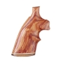 Product detail of Hogue Fancy Hardwood Grips with Accent Stripe and Top Finger Groove Taurus Medium and Large Frame Revolvers Round Butt Tulipwood