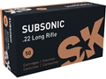 Product detail of SK Subsonic Ammunition 22 Long Rifle 40 Grain Lead Round Nose Hollow ...