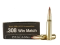 Product detail of Black Hills Gold Ammunition 308 Winchester 155 Grain Hornady A-Max Box of 20