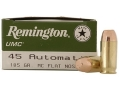Product detail of Remington UMC Ammunition 45 ACP 185 Grain Full Metal Jacket
