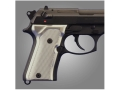 Product detail of Hogue Extreme Series Grip Beretta 92FS Compact Checkered Brushed Aluminum Gloss Clear