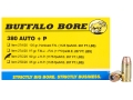 Product detail of Buffalo Bore Ammunition 380 ACP +P 90 Grain Jacketed Hollow Point Box of 20