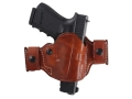 Product detail of El Paso Saddlery Snap Off Compact Thumb Break Outside the Waistband Holster Right Hand Glock 17, 19, 26, 22, 23, 27, 31, 32, 33 Leather Russet Brown