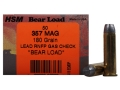 Product detail of HSM Bear Ammunition 357 Magnum 180 Grain Lead Round Nose Flat Point Gas Check Box of 50