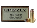 Product detail of Grizzly Ammunition 480 Ruger 400 Grain Hawk Bonded Core Jacketed Flat Point Box of 20