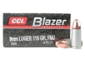 Product detail of CCI Blazer Ammunition 9mm Luger 115 Grain Full Metal Jacket