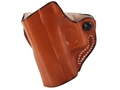 Product detail of DeSantis Mini Scabbard Outside the Waistband Holster Left Hand Glock 26, 27, 33 Leather Tan