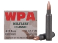 Product detail of Wolf Military Classic Ammunition 223 Remington 55 Grain Full Metal Jacket (Bi-Metal) Steel Case Berdan Primed