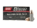 Product detail of CCI Blazer Clean-Fire Ammunition 9mm Luger 124 Grain Total Metal Jacket Box of 50