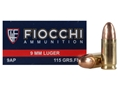 Product detail of Fiocchi Shooting Dynamics Ammunition 9mm Luger 115 Grain Full Metal Jacket Box of 50