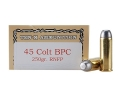 Product detail of Ten-X Cowboy Ammunition 45 Colt (Long Colt) 250 Grain Lead Round Nose Flat Point BPC Box of 50