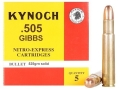 Product detail of Kynoch Ammunition 505 Gibbs Magnum 525 Grain Woodleigh Weldcore Solid Box of 5