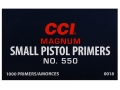 Thumbnail Image: Product detail of CCI Small Pistol Magnum Primers #550