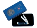 Product detail of Case Masonic Trapper Folding Knife Clip and Spey Stainless Steel Blades Blue Jigged Bone Handle with Gift Tin
