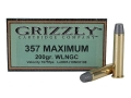 Product detail of Grizzly Ammunition 357 Maximum 200 Grain Lead Wide Nose Gas Check Box of 20