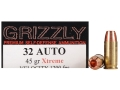 Product detail of Grizzly Self-Defense Ammunition 32 ACP 45 Grain Xtreme Copper Hollow Point Lead-Free Box of 20