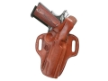"Product detail of El Paso Saddlery Strongside Select Thumb Break Outside the Waistband Holster Right Hand Smith & Wesson M&P 9mm, 40 S&W 4"" Leather Russet Brown"