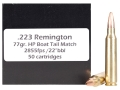 Product detail of Doubletap Ammunition 223 Remington 77 Grain Nosler Custom Competition Hollow Point Boat Tail Box of 50