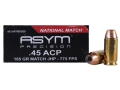 Product detail of ASYM Precision National Match Ammunition 45 ACP 185 Grain Jacketed Hollow Point Box of 50