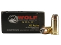 Product detail of Wolf Gold Ammunition 45 ACP 185 Grain Jacketed Hollow Point Box of 50