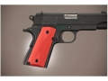Hogue Extreme Series Grip 1911 Officer Checkered Aluminum Matte Red
