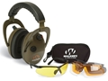 Walker&#39;s Alpha Power Muffs Electronic Earmuffs (NRR 24dB) and Shooting Glasses Kit