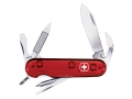 Wenger Swiss Army Highlander Folding Knife 11 Function Swiss Surgical Steel Blades Polymer Scales Translucent Red