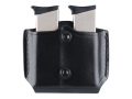 Gould &amp; Goodrich B851 Belt Double Magazine Pouch Beretta 83, 85, 87, Kahr Micro MK9, Elite MK9, MK40, E9, K9, P9, K40, P40, Covert 40, Sig P230, P232, Walther PP, PPK, PPK/S, PPK/E Leather Black