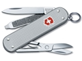 Victorinox Swiss Army Classic SD Folding Pocket Knife 7 Function Stainless Steel Blade Ribbed Alox Aluminum Handle Silver
