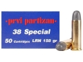 Prvi Partizan Ammunition 38 Special 158 Grain Lead Round Nose Box of 50