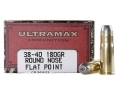 Product detail of Ultramax Cowboy Action Ammunition 38-40 WCF 180 Grain Lead Flat Nose Box of 50